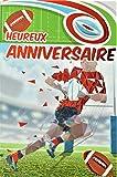 Afie Carte Heureux Anniversaire Rouge Brillant Ballon Ovale Rugby Men Homme Champion Marquer des points Poteaux Equipe Stade Terrain Fabriqué en France, 65-1269