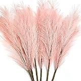 Planta artificial de pampas de 100 cm, 8 unidades de 100 cm, hierba de Pampas secas, plumas, arreglos florales, decoración (rosa, 8)
