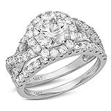 Clara Pucci 2.3 CT Round Cut CZ Pave Halo Bridal Engagement Wedding Ring Band Set 14k White Gold, Size 5.5