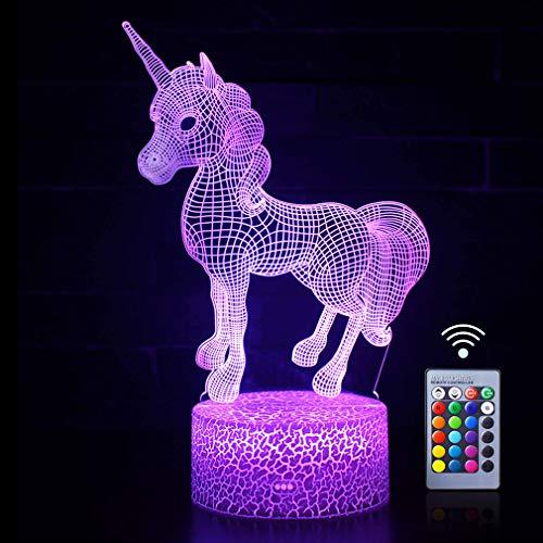 Einhorn 3D Nachtlicht Für Mädchen, Licht Der Optischen Täuschung Kinderzimmer Dekor Beleuchtung und Mädchen Nachttischlampe Mit Fernbedienung 3d Nachttisch Licht Als Jungen Oder Mädchen