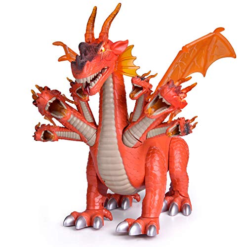 FUN LITTLE TOYS 10' 7 Headed Robo Alive Dragon Toys, Mechanical Action Figure Orange Dragon Walking with Lights and Sounds, Party Decorations Supplies Birthday Gifts Favors for Kids Boys Girls