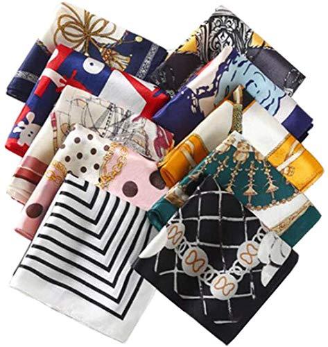 Ericotry Lot de 10 petits foulards soyeux en satin pour femme - Accessoires à nouer autour du cou ou dans les cheveux - Assortiment de couleurs et motifs - Taille carré 50 x 50 cm