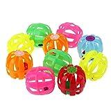 Domybest - 10 juguetes de plástico huecos para mascotas con cascabel pequeño,...