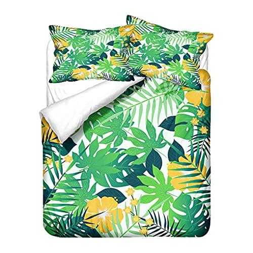 Copripiumino Tropicale 3D Foglia Fiore Pianta Stampa Set biancheria da letto con Federa Giallo Bianco Verde Blu Nero Microfibra Ragazzi Ragazza Ragazzo (Stile 5, 135x200 cm)