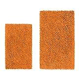 LuxUrux Bathroom Rug Set–Extra-Soft Plush Bath mat Shower Bathroom Rugs,1'' Chenille Microfiber Material, Super Absorbent (Rectangular Set, Orange)