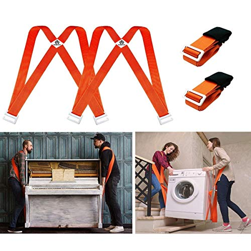 Kingmax Moving Straps, 2-Person Lifting and Moving System - Easily Move, Lift, Carry Furniture, Appliances, Mattresses, Heavy Object Without Back Pain. Great Tool for Moving Supplies (Orange)