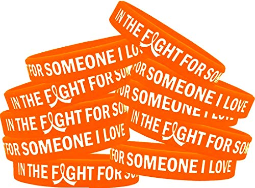 in The Fight for Someone I Love Leukemia MS Kidney Cancer Wristband Bracelet 10-Pack (Orange)