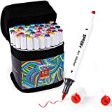 SPREEY 50 Colors Alcohol Brush Markers, Dual Tips(Brush & Chisel + 1 Colorless Alcohol Marker Blender), Art Alcohol Markers Set , for kids Drawing, Coloring, Adult Illustration, Artist Sketching