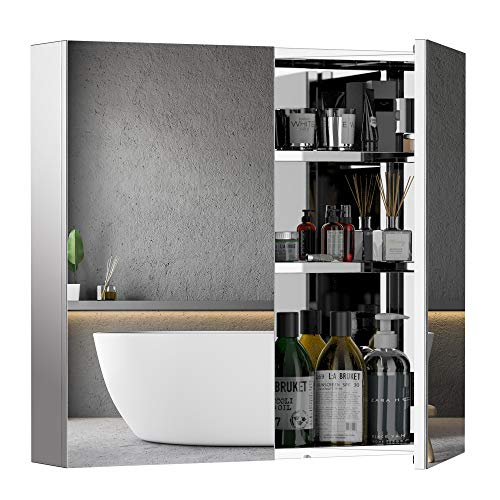 HOMCOM 24 X 22 Inch Stainless Steel Medicine Cabinet Wall Mounted Bathroom Mirror Storage Cabinet Double Doors with Shelves Kitchen Cupboard