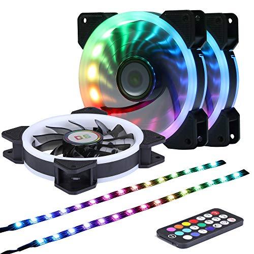 Ubanner DS Ventola per Case RGB indirizzabile a LED da 1400 Giri/min 120 mm con Controller per Case per Computer,LED Fans (3 ventole RGB, 2 Strisce LED, Telecomando RF di Terza Generazione, Serie A)