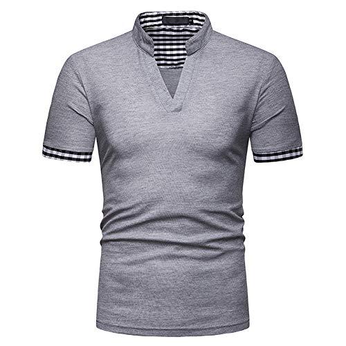 Showu Herren Poloshirts Stehkragen Polo Shirt Kurzarm Einfarbig Sommer T-Shirt, Grau4, XXL