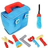 Hztyyier 6 Stücke Plüsch Werkzeug Spielset für Kleinkinder Early Educational Engineer Tool Lernspielzeug mit Träger Box