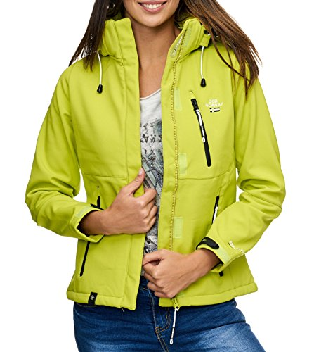 Geographical Norway Tehouda Damen Softshell Jacke Outdoor Übergangsjacke Parka (S, Grün)