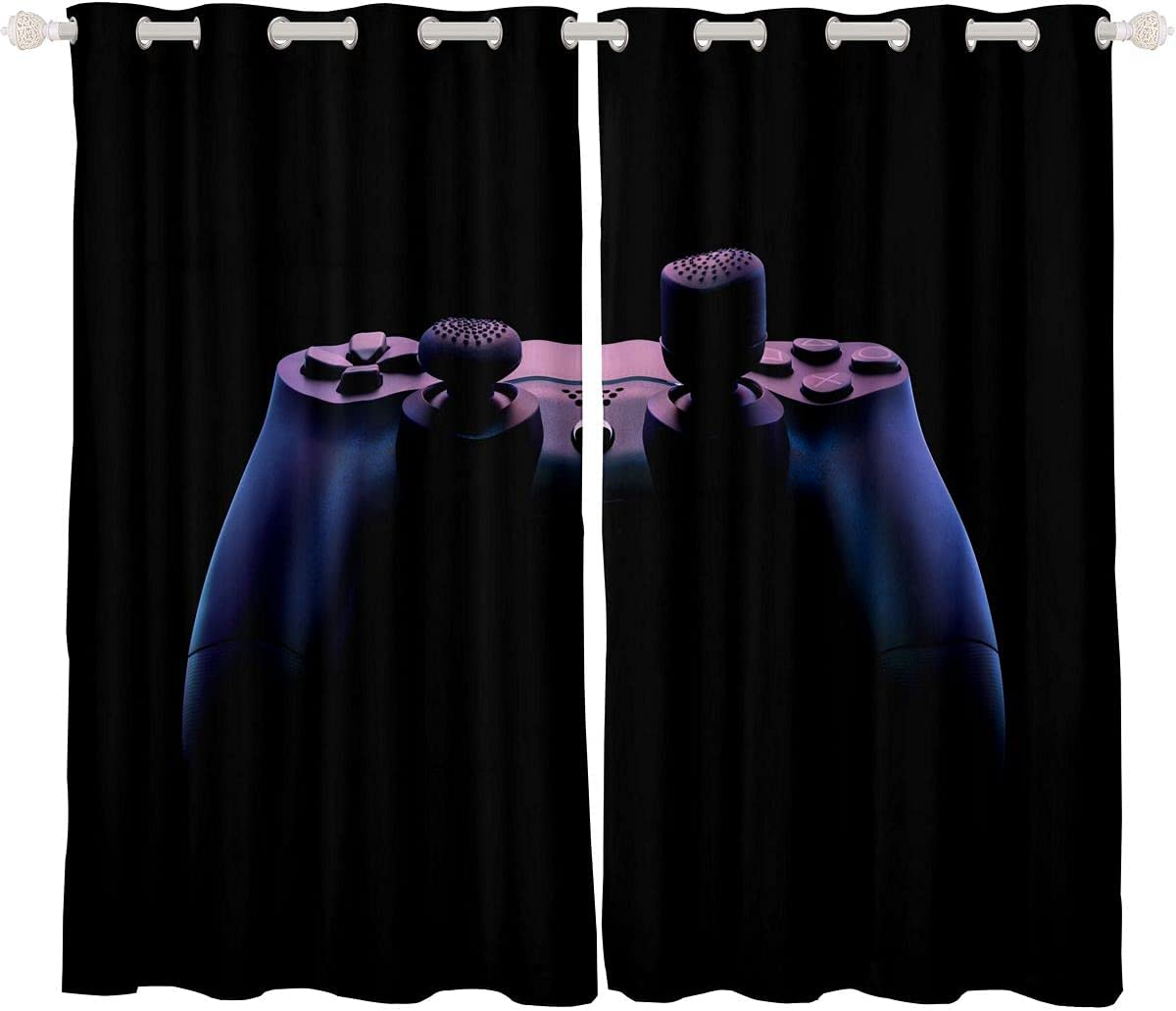 Feelyou Gamer Curtains 2 Panels Set 52W Vi x Teens 着後レビューで 送料無料 至上 Inch 63L Boys