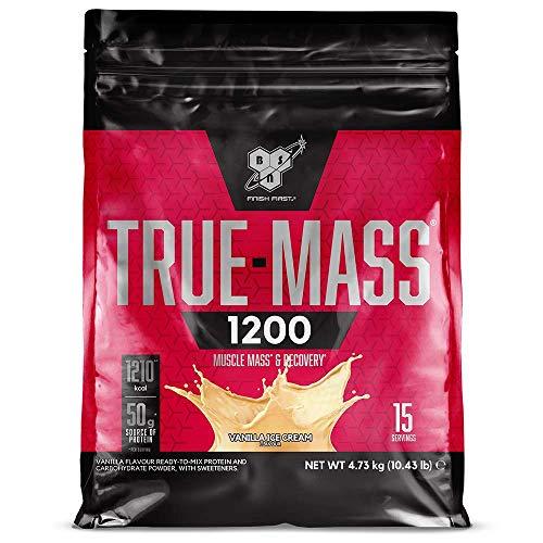 BSN True Mass 1200, Mass Gainer Eiweisspulver mit Protein Isolat und Casein zum Muskelaufbau, Vanilla Ice Cream, 15 Portionen 4,73 kg