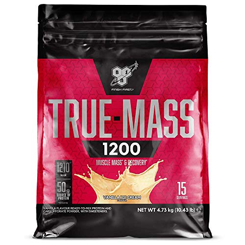 BSN True Mass 1200, Mass Gainer Protein Powder with Milk Proteins and Carbohydrate for Muscle Gain and Recovery, Vanilla Ice Cream, 4.73 kg, 15 Servings