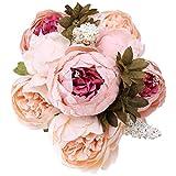 StarLifey Künstliche Blumen, Altmodische Pfingstrosen kunstblumen, aus Seide für Hochzeit Heim-Dekoration, 1 Stück hellrosa