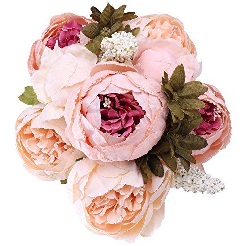 StarLifey Flores Artificiales Exterior, 1 Ramo 8 Cabezas de Flores de Seda