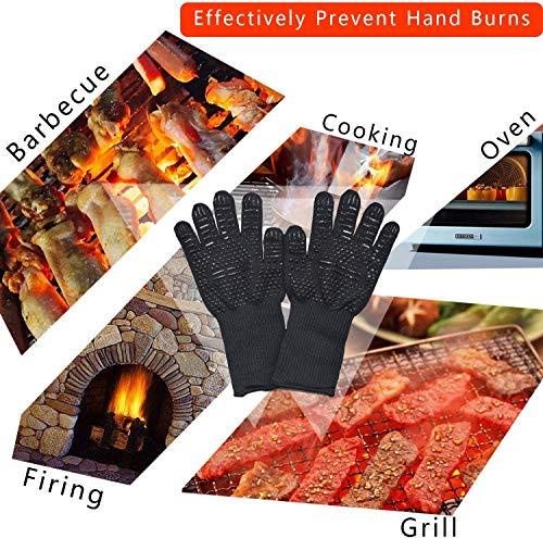 Senders Grillhandschuhe, Ofenhandschuhe Hitzebeständige bis zu 800 ° C Grill Handschuhe Universalgröße Kochhandschuhe Backhandschuhe rutschfeste mit Silikon für BBQ/Kochen/Backen/Schweißen - 4