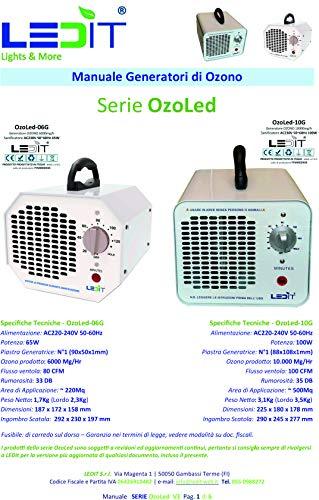SANIFICATORE OZONO CERTIFICATO CNR + CERTIFICATO CE PROGETTATO IN ITALIA, GENERATORE 6000MG/hr CON TIMER 120 MIN USO PROFESSIONALE E COMMERCIALE, MANUALE ISTRUZIONI ILLUSTRATO INCLUSO