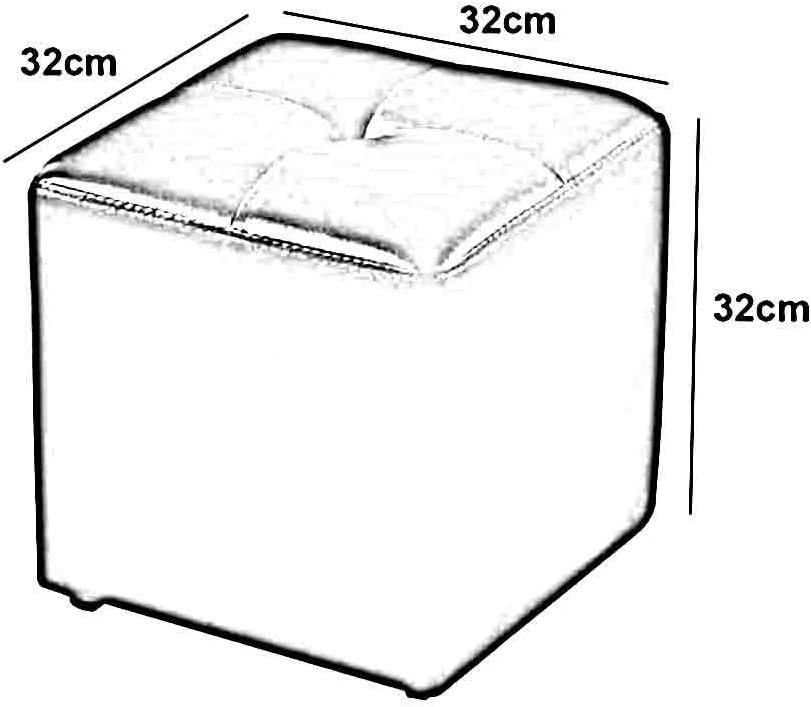 YCSD Cube Rembourré Pouf Ottoman Pouf Chaise en Cuir Faux Thé Table Tabouret (Color : Black) Khaki