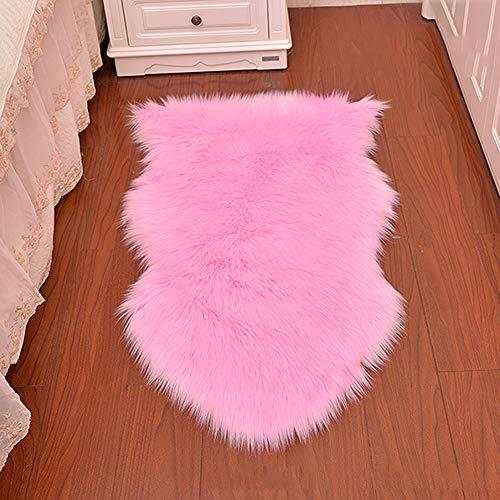 Faux schapenvacht tapijt, lamsvacht imitatie tapijt, langharige vacht, leer Polyester, Faux Fleece Stoel Cover Seat Pad Zachte pluizige Shaggy Area tapijten [23.6 x 35.4 inch (W) x (L)] 23.6 x 35.4inch roze