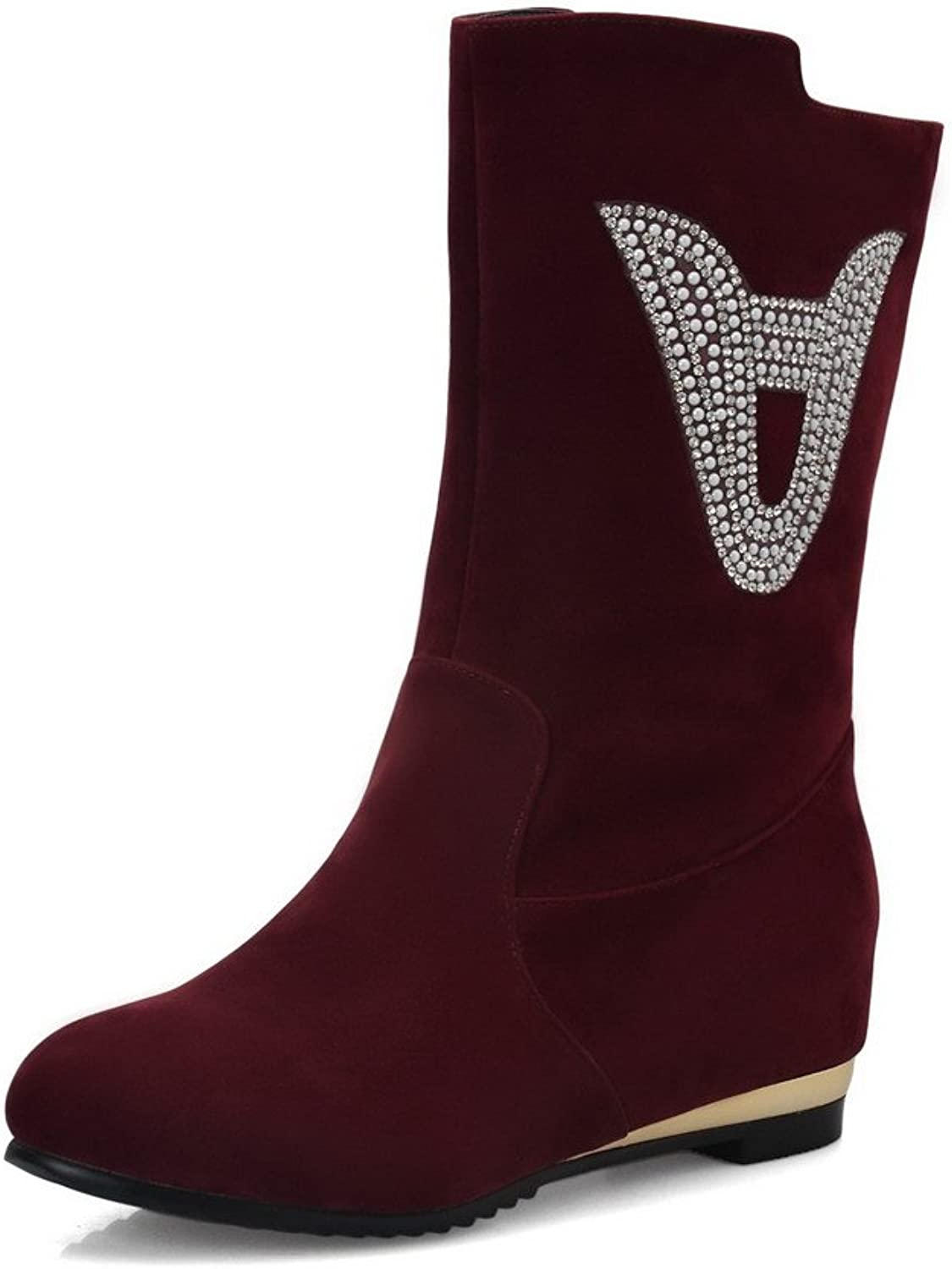 WeiPoot Women's Round Closed Toe PU Pull-on Low-Heels Mid-Calf Boots