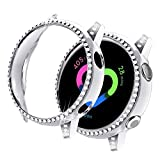 Yolovie Compatible with Samsung Galaxy Watch Active 1 Case 40mm, NOT for Active 2. PC Protective Cover Women Girl Bling Crystal Diamonds Shiny Rhinestone Bumper Watch Cases (Silver)