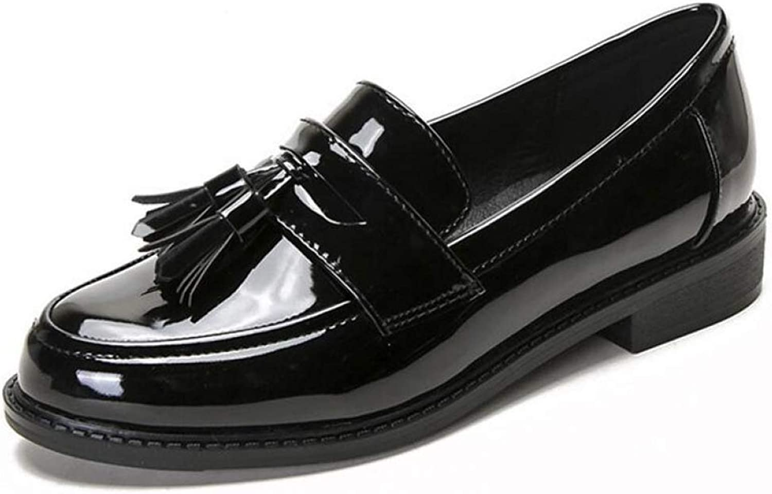 Women's Penny Loafers Casual Pointed Toe Ballet Flats Bow Tassel Patent Leather Slip On shoes