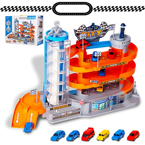 NeatoTek 4-Level Garage Toy Set Car Vehicle Building Parking Lot Race Tracks with 6 Pcs Diecast Metal Cars Durable Garage Playset for Boys, Kids, Toddler