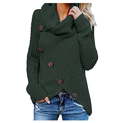 iHENGH Damen Herbst Winter Übergangs Warm Bequem Slim Mantel Lässig Stilvoll Frauen Langarm Solid Sweatshirt Pullover Tops Bluse Shirt (Grün-1, 2XL)