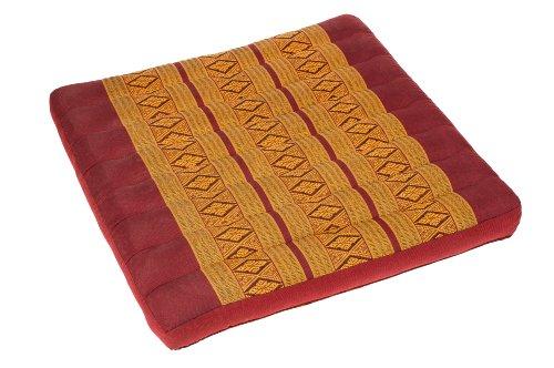 Handelsturm Thai Sitzkissen 50x50, Auflage mit hochwertiger Füllung aus Kapok, Thaikissen Sitz Burgunder orientrot, quadratisches Bodenkissen