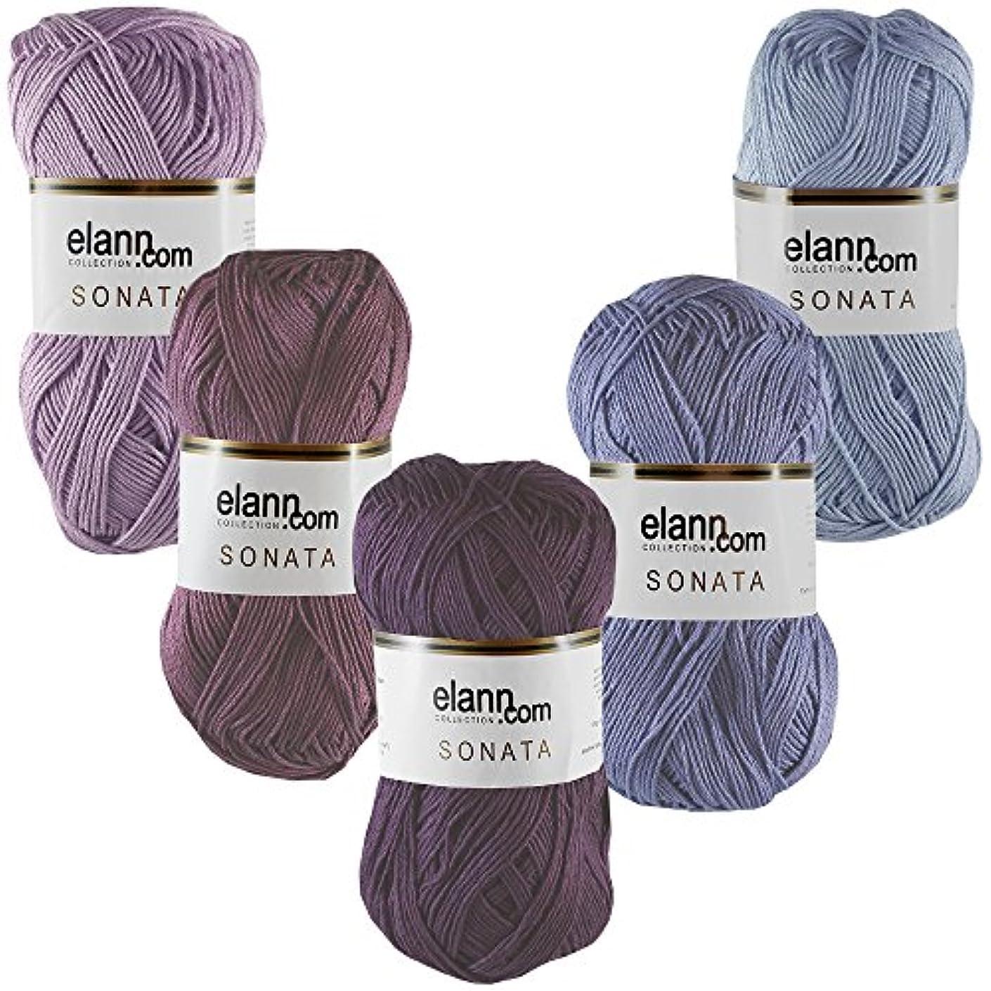 elann Sonata Yarn | 5 Ball Bag | Color Pack 3 - Plum Perfection