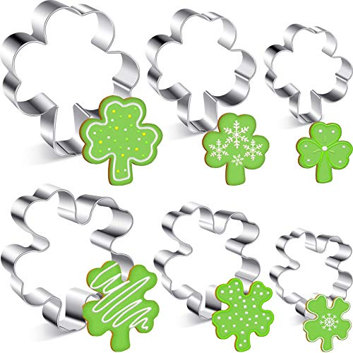 6 Pieces St. Patrick's Day Cookie Cutters Irish Shamrock Cookie Cutters 4 Leaf Clover Cookie Cutter Stainless Steel Fondant Cutters for St. Patrick's Day Holiday Party Supplies, 6 Sizes
