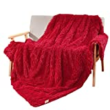 DECOSY Silky Soft Faux Fur Warm Cozy Blanket Rose Red 60'x 70' - Reversible Fleece Flannel TV Blanket for Sofa Couch Chair Bed - All Season Quilt Fuzzy Comforter - Easter Gift