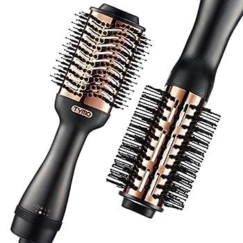 TYMO Hot Air Brush - Ionic Hair Dryer & Volumizer Professional One-Step Hair Dryer Brush with Enhanced Titanium Barrel Hair Straightener Brush and Blow Dryer