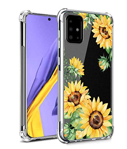 Leychan for Galaxy A51 Case, Slim Flexible TPU for Girls Women Airbag Bumper Shock Absorption Rubber Soft Silicone Case Cover Fit for Samsung Galaxy A51 (Sunflower/Yellow)