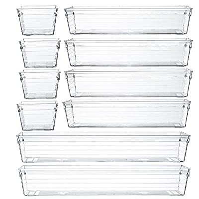 Clear Plastic Drawer Organizer Tray for Vanity Cabinet (Set of 10),Storage Tray for Makeup, Kitchen Utensils, Jewelries, and Gadgets