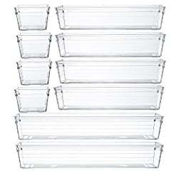 Includes:(2) 12 L x 3 W x 2 H in, (4) 9 L x 3 W x 2 H in, and (4) 3 L X 3 W X 2 H Material: Acrylic(Plastic) Features: Clear ,Easy to Clean,Eco-friendly,Transparent,BPA Free,Unbreakable,Recycled. Mix and match for any drawer size and storage need. Pa...