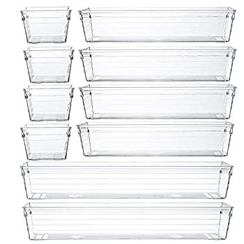 Backerysupply Clear Plastic Drawer Organizer Tray for Vanity Cabinet  Set of 10 ,Storage Tray for Makeup Kitchen Utensils Jewelries and Gadgets