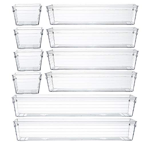 Clear Plastic Drawer Organizer Tray for Vanity Cabinet (Set of 10),Storage Tray for Makeup, Kitchen...