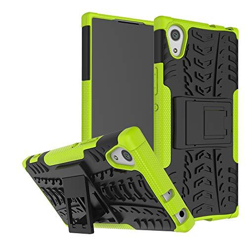 LFDZ Sony Xperia XA1 Tasche, Hülle Abdeckung Cover schutzhülle Tough Strong Rugged Shock Proof Heavy Duty Hülle Für Sony Xperia XA1 Smartphone (mit 4in1 Geschenk verpackt),Grüne