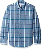 Amazon Essentials – Camisa informal de popelín de manga larga de corte recto estándar para hombre, Denim Large Plaid, US S (EU S)