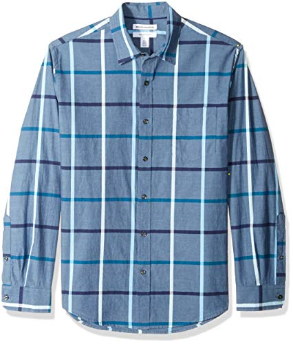 Amazon Essentials – Camisa informal de popelín de manga larga de corte recto estándar para hombre, Denim Large Plaid, US XS (EU XS)