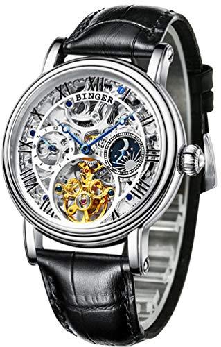 B BINGER Skelett Uhren Herren Automatik Selbstaufzug Mechanische Leder Armband(weiß)