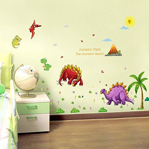 PISKLIU Muurstickers Muurfiguren Cartoon dinosaurussen Kinderdagverblijf Slaapkamer Kinderdagverblijf Badkamer Afneembare tegels Muursticker Sticker Wanddecoratie