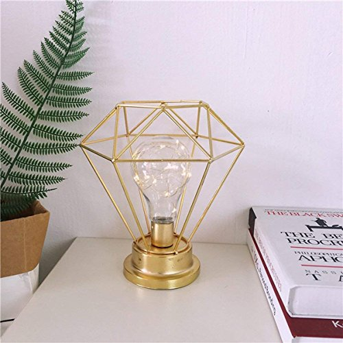 Metall Tischlampe,AntEuro Diamant Nachttischlampe Tischlampe Nordische dekorative Metall Night Light batteriebetrieben Schreibtischlampe(Gold)