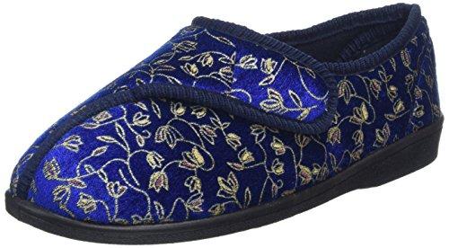 Homecraft - Zapatillas de casa para mujer (talla 39), diseño de flores, color azul