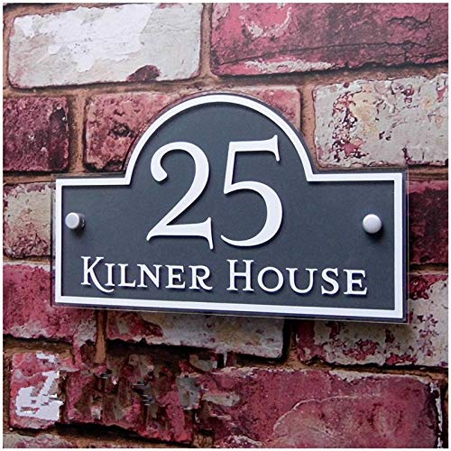 Hausnummer anthrazit Customized/Personalisierte Moderne Plexiglas Haus Schilder Türschilder Plaketten mit bunten Folien Tür Nummer und St. Schild (Color : Grey with White, Size : 15cm*25cm)