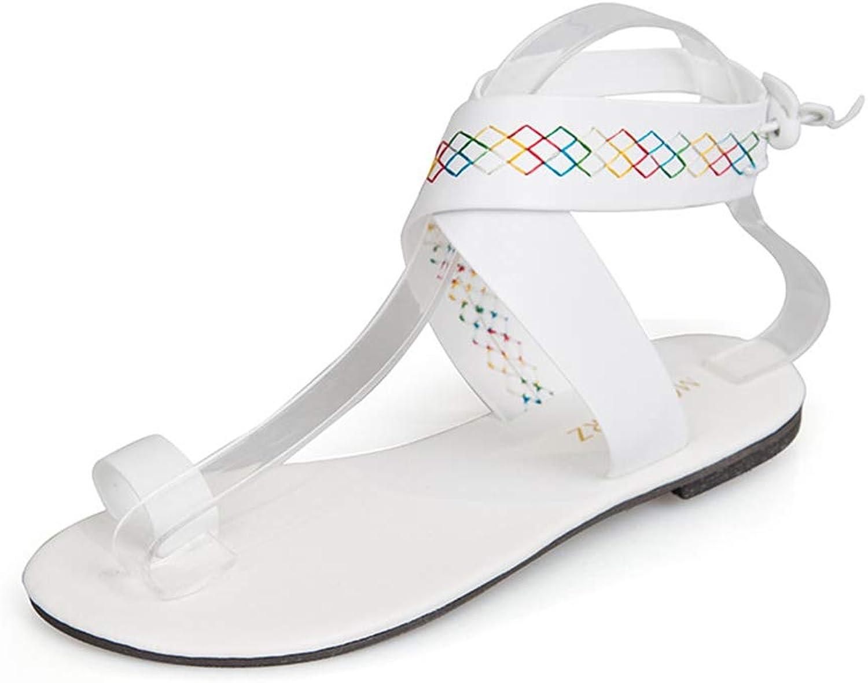 HEDDK Summer Women Flat Sandals Simple White Credver Fashion Flip-Flops Sandals Beach shoes Ladies Sandals Plus Size 35-42
